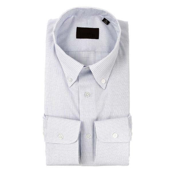 ドレスシャツ/長袖/メンズ/COOL MAX/ボタンダウンカラードレスシャツ チェック ホワイト×ブルー