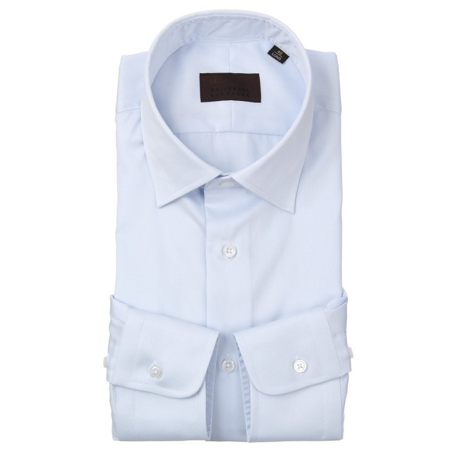 ドレスシャツ/長袖/メンズ/ワイドカラードレスシャツ 織柄 サックスブルー