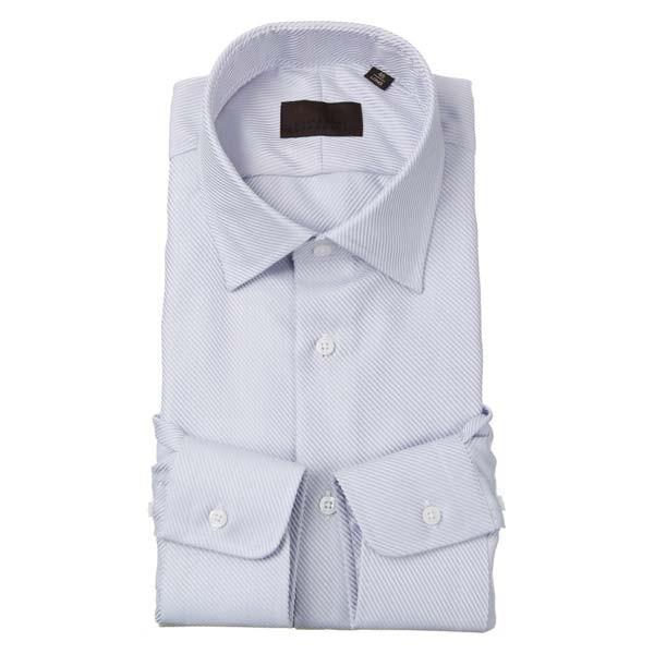ドレスシャツ/長袖/メンズ/ワイドカラードレスシャツ 織柄 ブルー