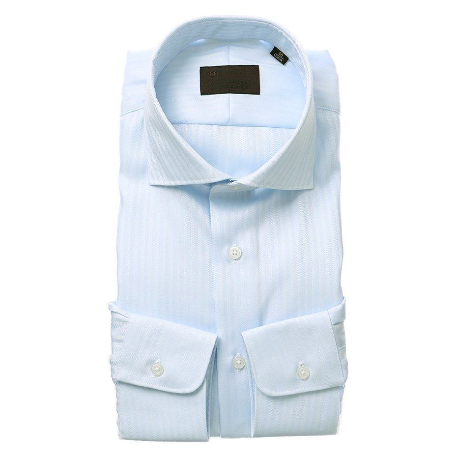 ドレスシャツ/長袖/メンズ/ホリゾンタルカラードレスシャツ ヘリンボーン サックスブルー
