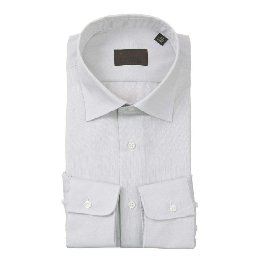 ドレスシャツ/長袖/メンズ/ワイドカラードレスシャツ 織柄 ライトグレー×ホワイト