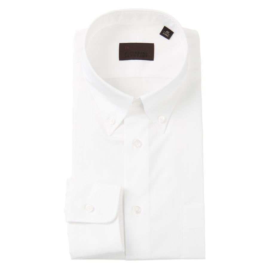 ドレスシャツ/長袖/メンズ/COOL MAX/ボタンダウンカラードレスシャツ シャドーストライプ ホワイト