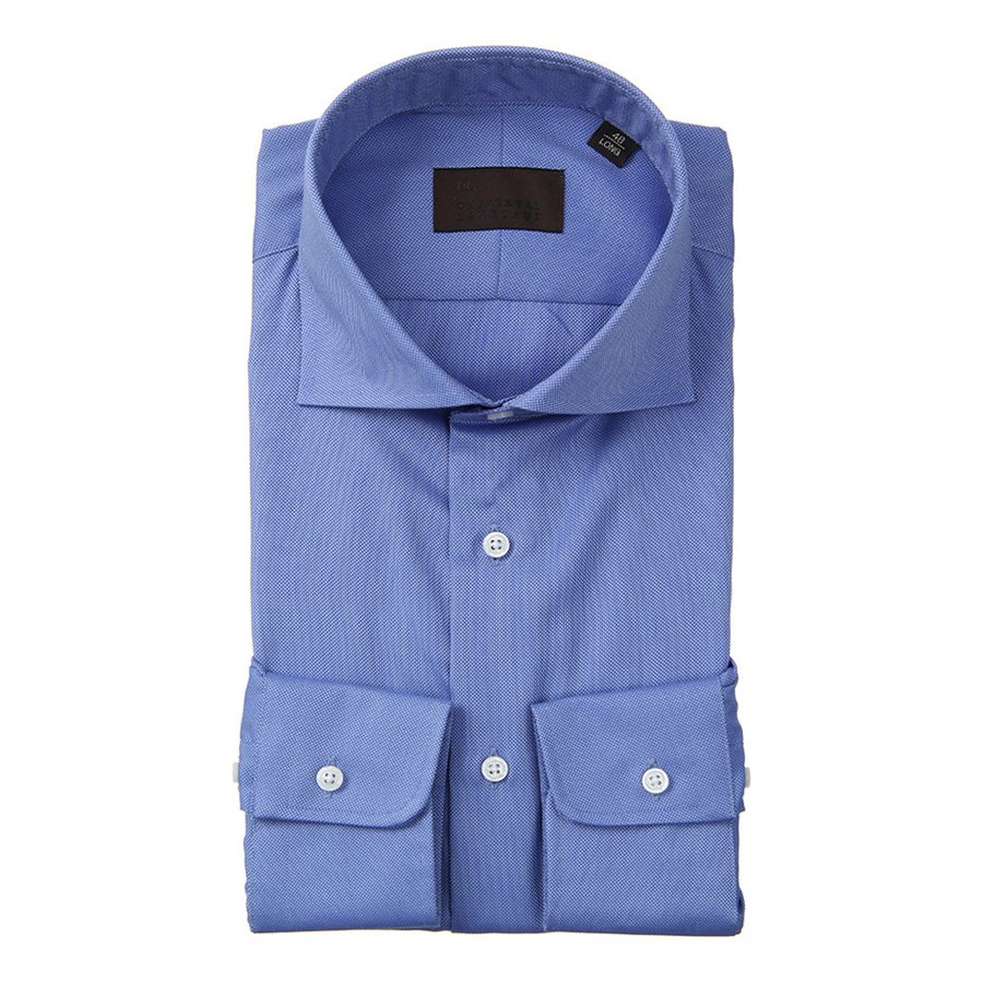 ドレスシャツ/長袖/メンズ/ホリゾンタルカラードレスシャツ 織柄 ブルー×サックスブルー