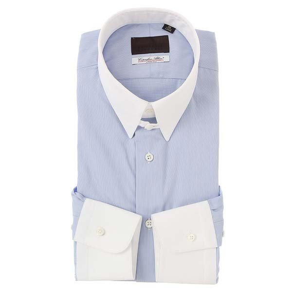 ドレスシャツ/長袖/メンズ/クレリック&タブカラードレスシャツ ヘアラインストライプ /Fabric by Albini/ サックスブルー×ホワイト