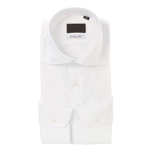 ドレスシャツ/長袖/メンズ/ホリゾンタルカラードレスシャツ シャドーストライプ/Fabric by Albini/ ホワイト