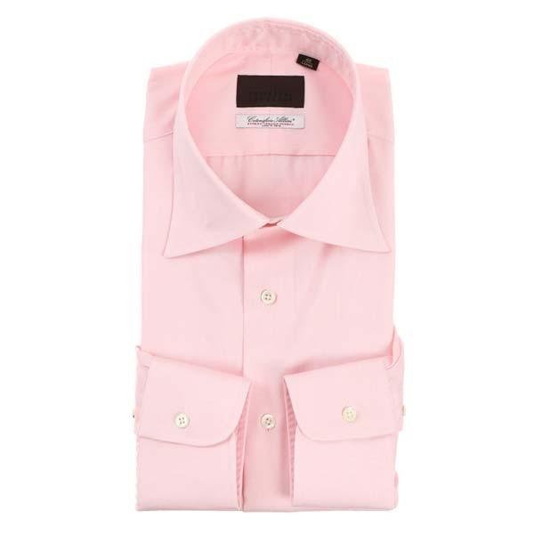 ドレスシャツ/長袖/メンズ/ワイドカラードレスシャツ 無地 /Fabric by Albini/ ピンク