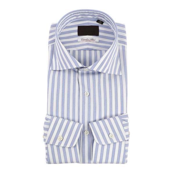 ドレスシャツ/長袖/メンズ/ホリゾンタルカラードレスシャツ ロンドンストライプ /Fabric by Albini/ ホワイト×ブルー×ネイビー