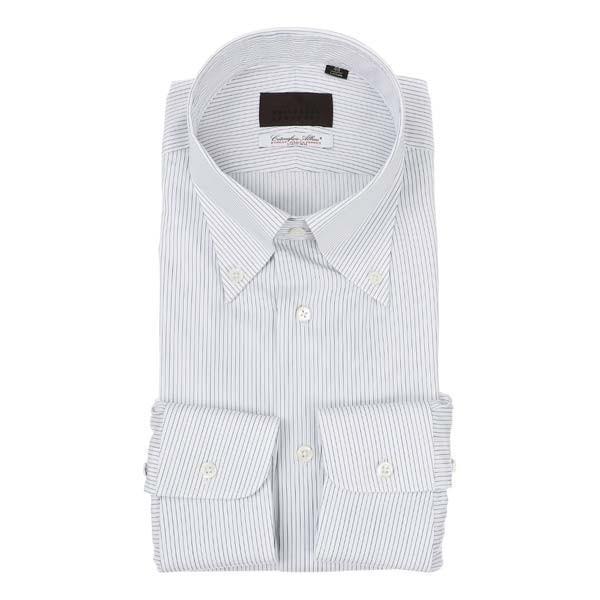 ドレスシャツ/長袖/メンズ/ボタンダウンカラードレスシャツ ストライプ×織柄 /Fabric by Albini/ ホワイト×ブルー