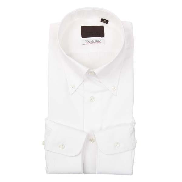 ドレスシャツ/長袖/メンズ/ボタンダウンカラードレスシャツ 織柄 /Fabric by Albini/ ホワイト
