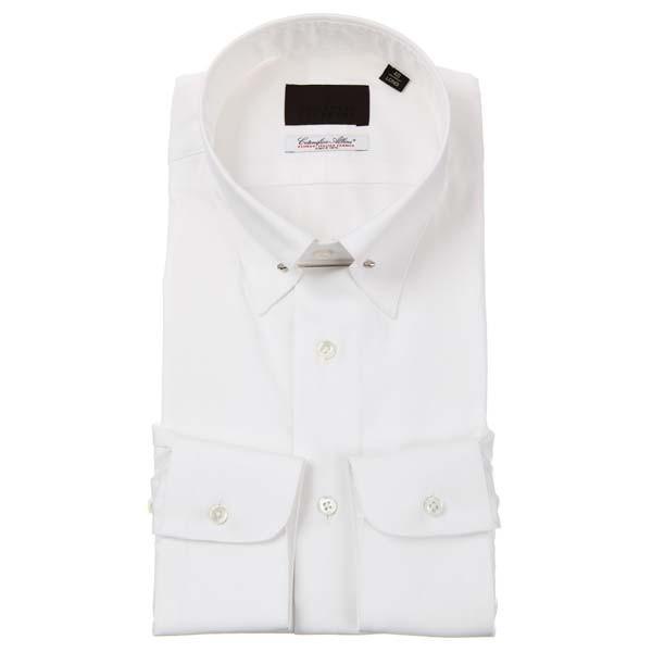 ドレスシャツ/長袖/メンズ/ピンホールカラードレスシャツ 織柄/Fabric by Albini/ ホワイト