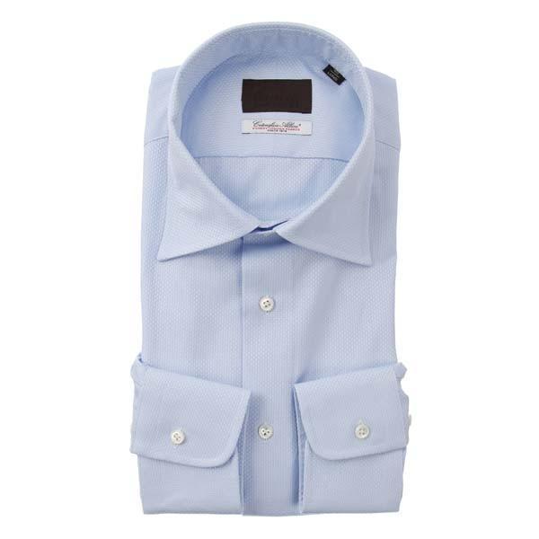 ドレスシャツ/長袖/メンズ/ワイドカラードレスシャツ 織柄/Fabric by Albini/ サックスブルー×ホワイト