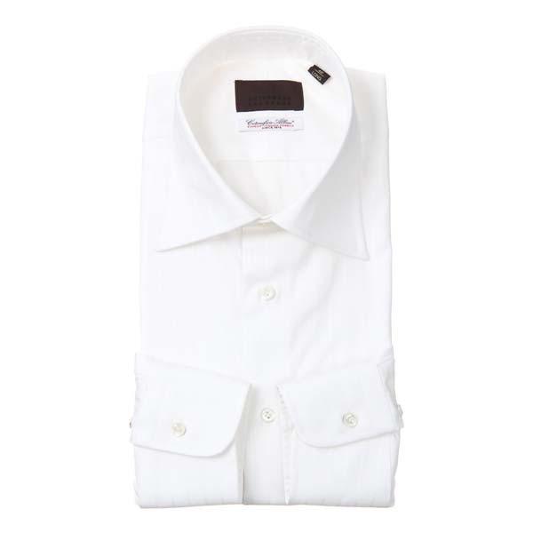 ドレスシャツ/長袖/メンズ/ワイドカラードレスシャツ シャドーストライプ /Fabric by Albini/ ホワイト
