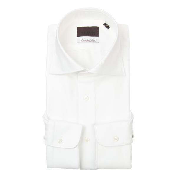 ドレスシャツ/長袖/メンズ/ホリゾンタルカラードレスシャツ 織柄 /Fabric by Albini/ ホワイト