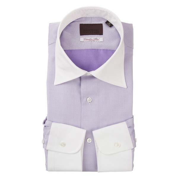 ドレスシャツ/長袖/メンズ/クレリック&ワイドカラードレスシャツ 織柄 /Fabric by Albini/ ホワイト×パープル