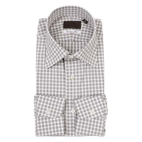ドレスシャツ/長袖/メンズ/ワイドカラードレスシャツ ギンガムチェック /Fabric by Albini/ ブラウン×ホワイト