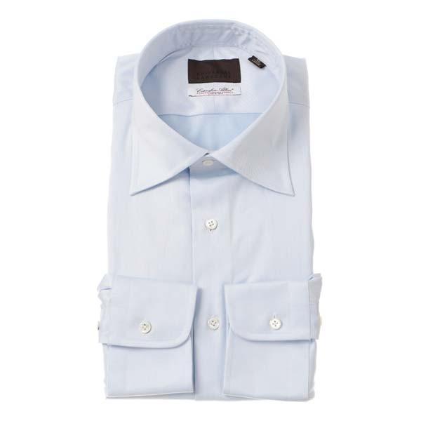ドレスシャツ/長袖/メンズ/ワイドカラードレスシャツ 織柄 /Fabric by Albini/ サックスブルー×ホワイト