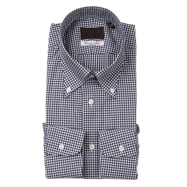 ドレスシャツ/長袖/メンズ/ボタンダウンカラードレスシャツ ギンガムチェック /Fabric by Albini/ ネイビー×ホワイト