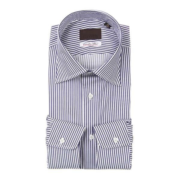 ドレスシャツ/長袖/メンズ/ワイドカラードレスシャツ ストライプ /Fabric by Albini/ ネイビー×ホワイト