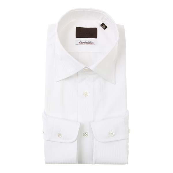 ドレスシャツ/長袖/メンズ/ワイドカラードレスシャツ シャドーストライプ/Fabric by Albini/ ホワイト