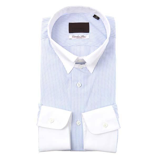 ドレスシャツ/長袖/メンズ/クレリック&タブカラードレスシャツ ストライプ /Fabric by Albini/ ホワイト×サックスブルー