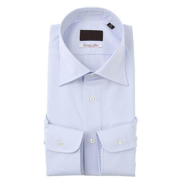 ドレスシャツ/長袖/メンズ/ワイドカラードレスシャツ ストライプ×織柄/Fabric by Albini/ サックスブルー×ホワイト