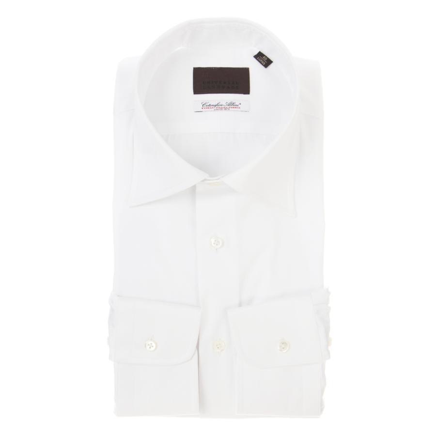 ドレスシャツ/長袖/メンズ/ワイドカラードレスシャツ 織柄/Fabric by Albini/ ホワイト