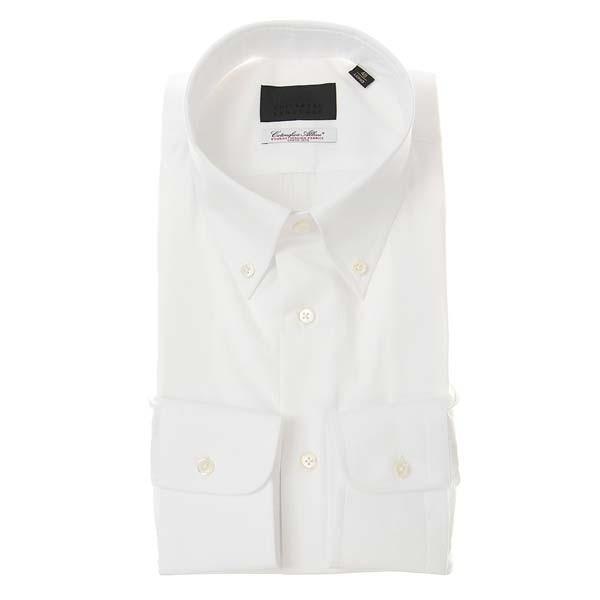 ドレスシャツ/長袖/メンズ/ボタンダウンカラードレスシャツ シャドーストライプ /Fabric by Albini/ ホワイト