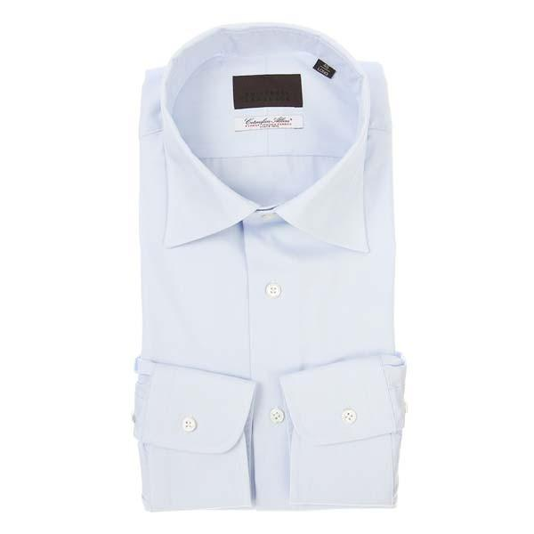 ドレスシャツ/長袖/メンズ/ワイドカラードレスシャツ 織柄/Fabric by Albini/ サックスブルー