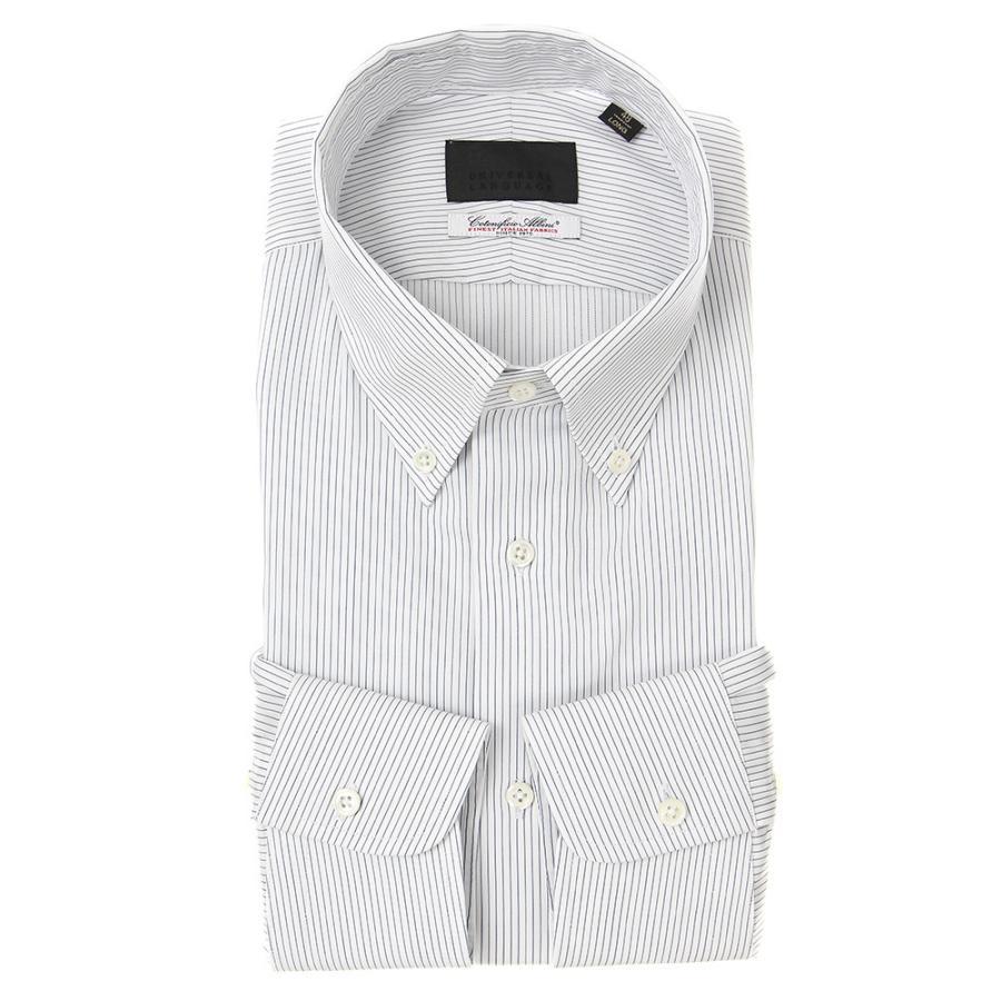 ドレスシャツ/長袖/メンズ/ボタンダウンカラードレスシャツ ストライプ×織柄 /Fabric by Albini/ ホワイト×ネイビー