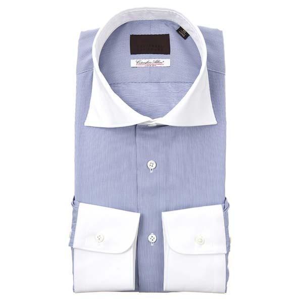 ドレスシャツ/長袖/メンズ/ホリゾンタルカラードレスシャツ ヘアラインストライプ /Fabric by Albini/ ホワイト×ネイビー