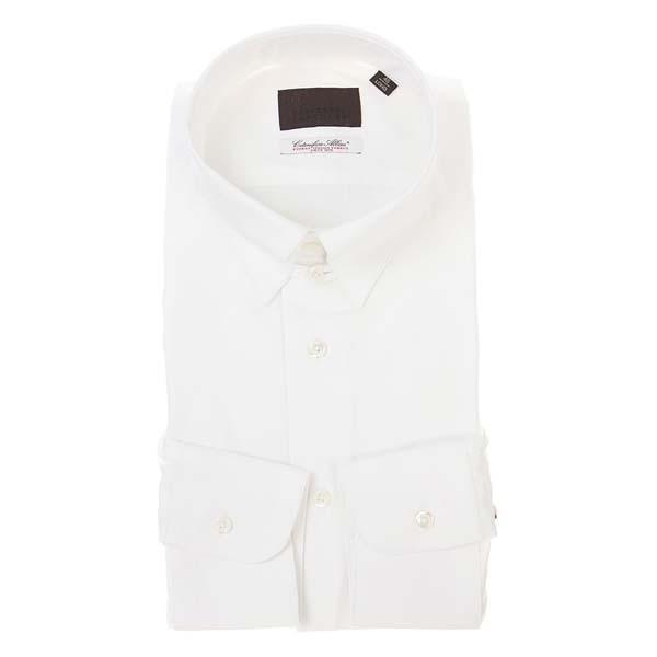 ドレスシャツ/長袖/メンズ/タブカラードレスシャツ 織柄/Fabric by Albini/ ホワイト