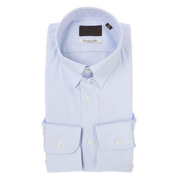 ドレスシャツ/長袖/メンズ/タブカラードレスシャツ 織柄/Fabric by Albini/ サックスブルー×ホワイト