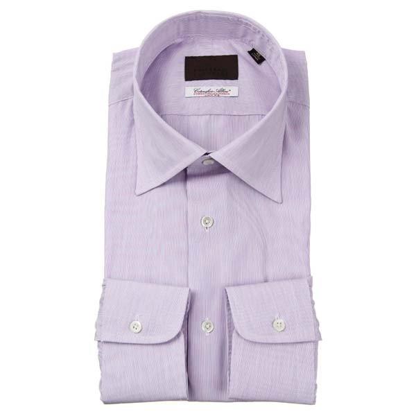 ドレスシャツ/長袖/メンズ/ワイドカラードレスシャツ ストライプ柄/Fabric by Albini/ パープル×ホワイト