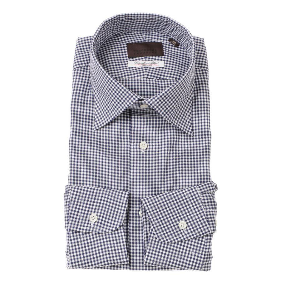 ドレスシャツ/長袖/メンズ/ワイドカラードレスシャツ ギンガムチェック /Fabric by Albini/ ネイビー×ホワイト