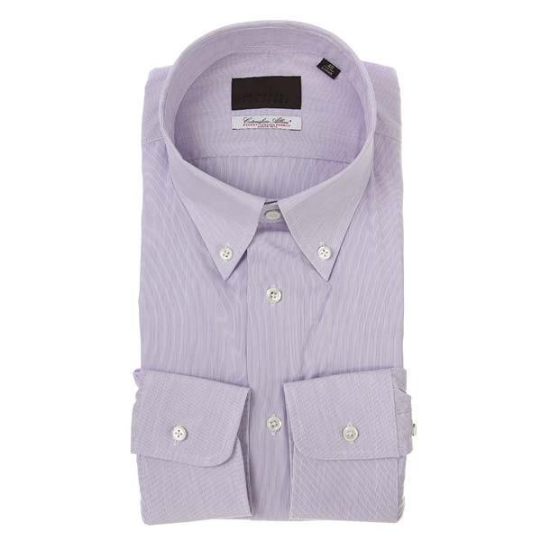 ドレスシャツ/長袖/メンズ/ボタンダウンカラードレスシャツ ヘアラインストライプ/Fabric by Albini/ パープル×ホワイト
