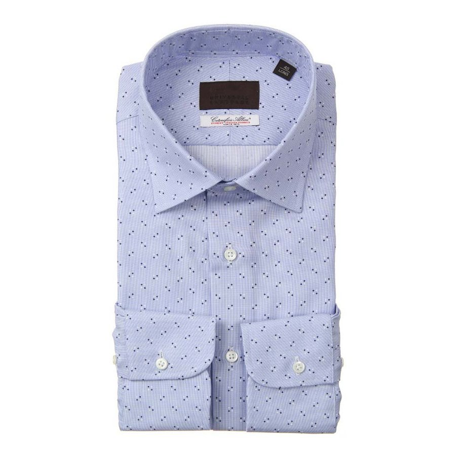ドレスシャツ/長袖/メンズ/ワイドカラードレスシャツ 小紋 /Fabric by Albini/ サックスブルー×ネイビー×ホワイト