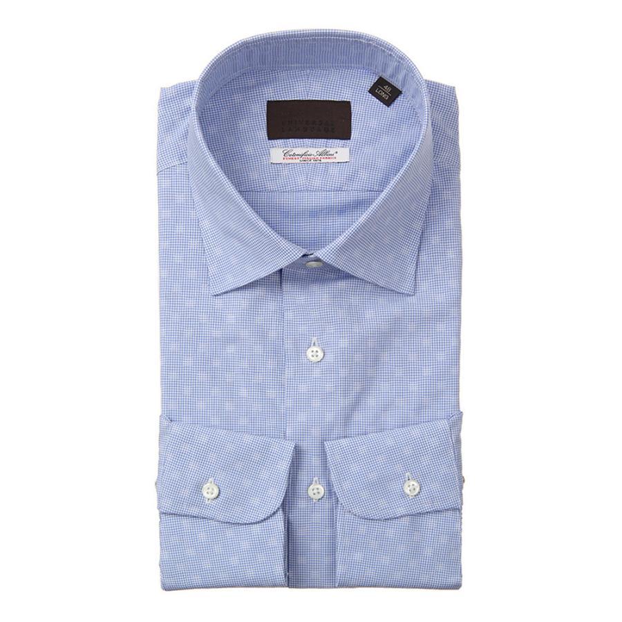ドレスシャツ/長袖/メンズ/ワイドカラードレスシャツ チェック /Fabric by Albini/ サックスブルー×ホワイト