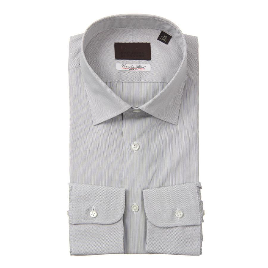 ドレスシャツ/長袖/メンズ/ワイドカラードレスシャツ ストライプ /Fabric by Albini/ グレー×ホワイト