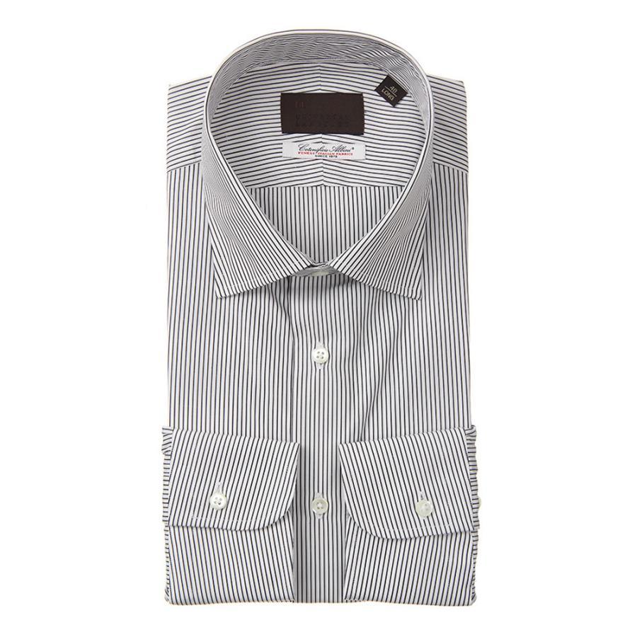 ドレスシャツ/長袖/メンズ/ワイドカラードレスシャツ ストライプ /Fabric by Albini/ チャコールグレー×ホワイト