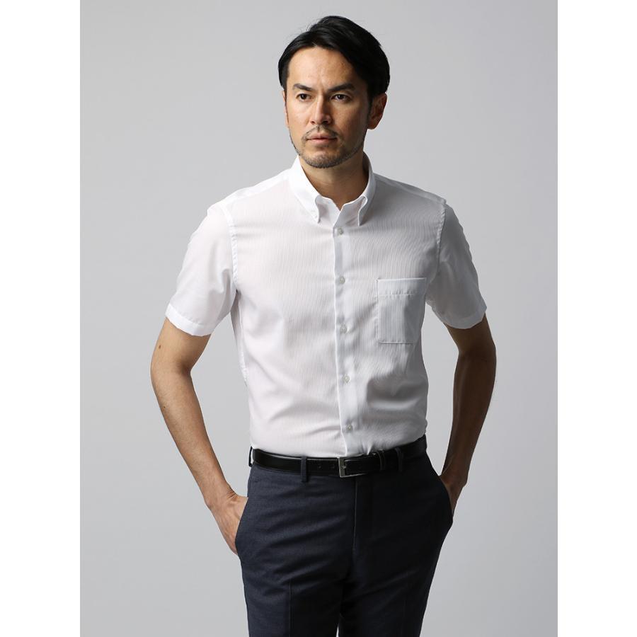 ドレスシャツ/半袖/メンズ/半袖・COOL MAX/ボタンダウンカラードレスシャツ シャドーストライプ ホワイト
