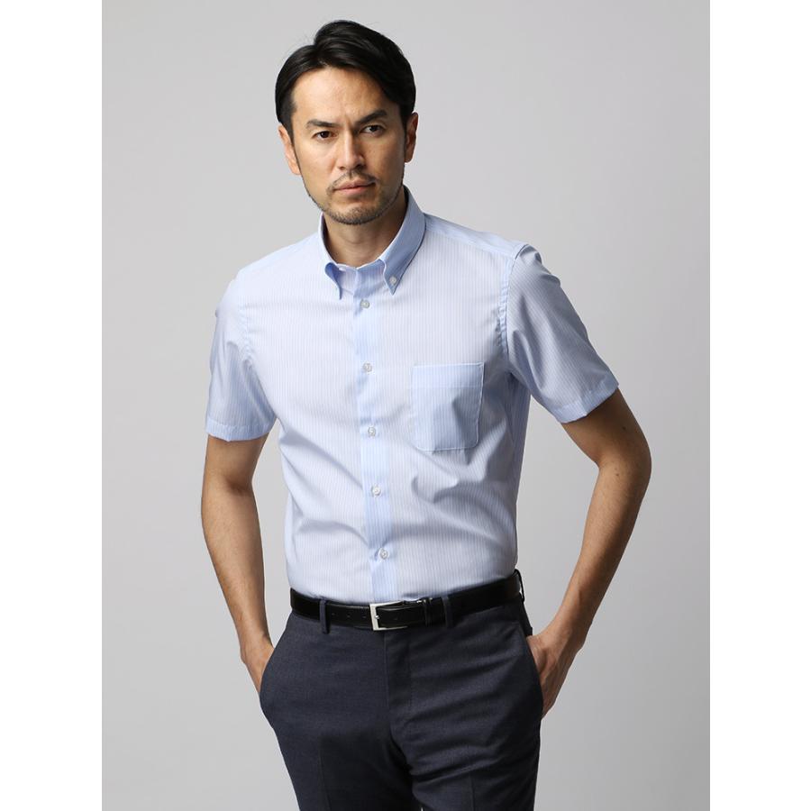 ドレスシャツ/半袖/メンズ/半袖・COOL MAX/ボタンダウンカラードレスシャツ ストライプ ブルー×ホワイト