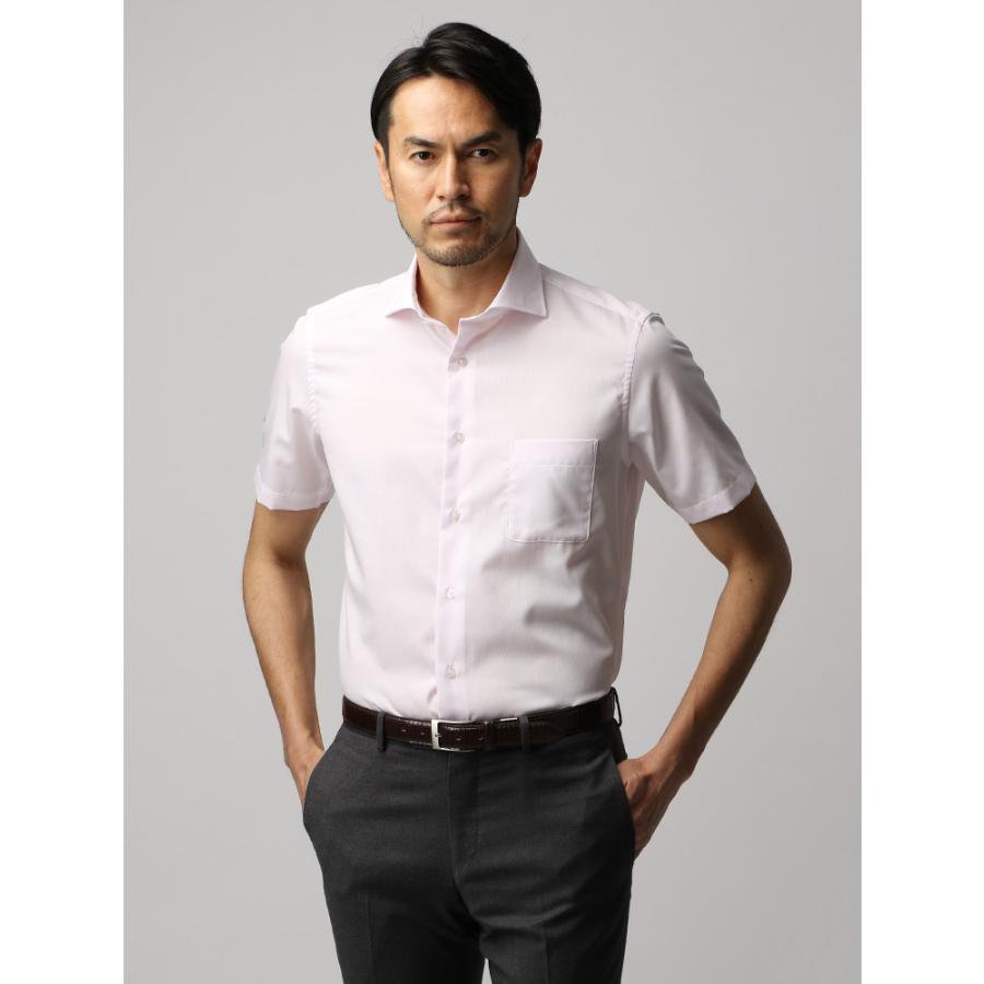 ドレスシャツ/半袖/メンズ/半袖・COOL MAX/ホリゾンタルカラードレスシャツ ピンドット ホワイト×ピンク