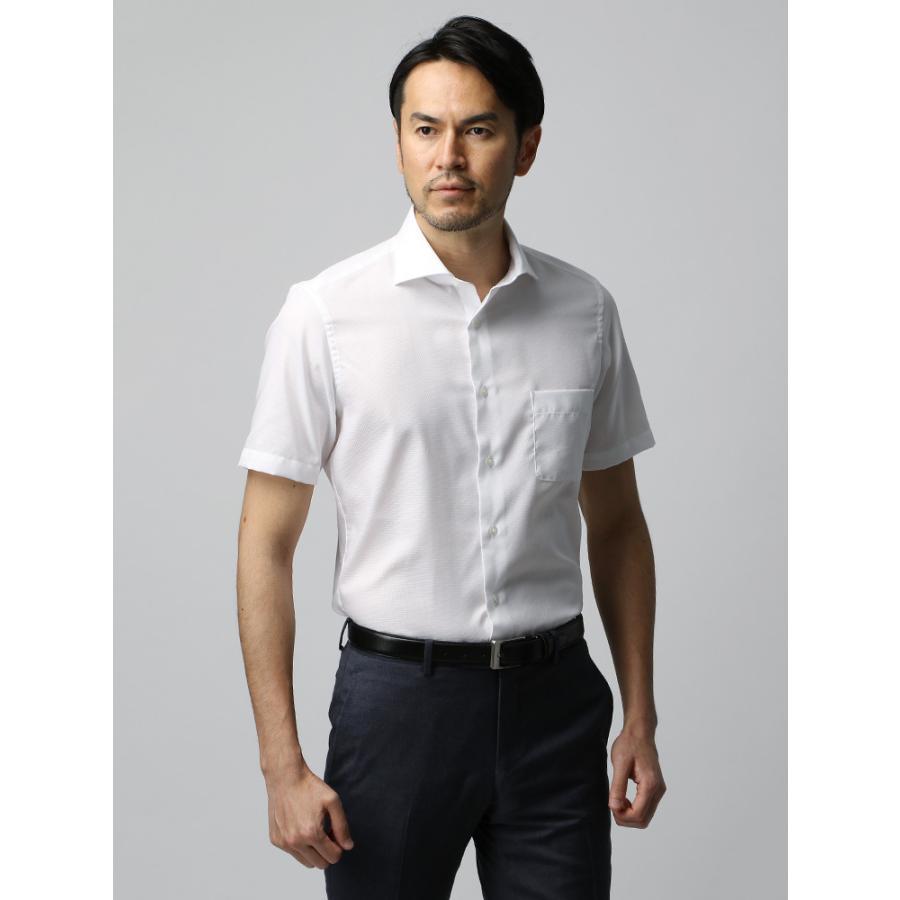ドレスシャツ/半袖/メンズ/半袖・COOL MAX/ホリゾンタルカラードレスシャツ 織柄 ホワイト
