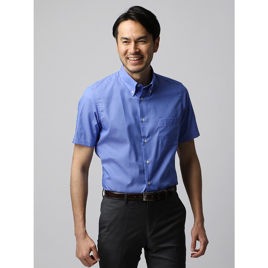 ドレスシャツ/半袖/メンズ/半袖・COOL MAX/ボタンダウンカラードレスシャツ 織柄 ブルー