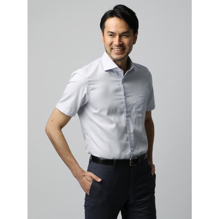 ドレスシャツ/半袖/メンズ/半袖・COOL MAX/ホリゾンタルカラードレスシャツ ピンドット ホワイト×ブルー
