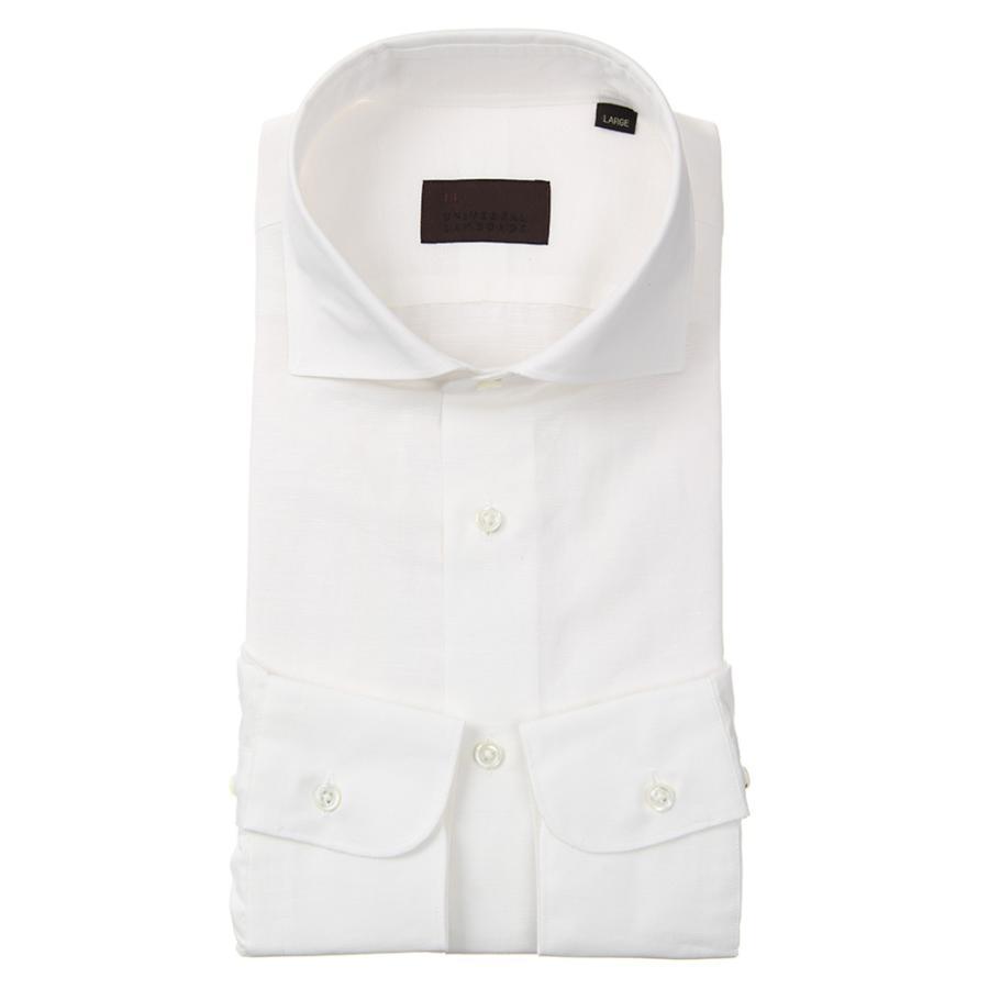 ドレスシャツ/長袖/メンズ/JAPAN FABRIC/リネンブレンド/ホリゾンタルカラードレスシャツ 無地 ホワイト