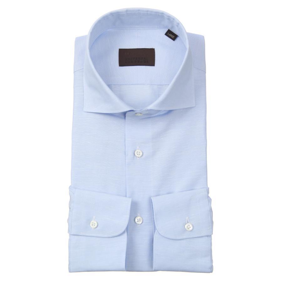 ドレスシャツ/長袖/メンズ/JAPAN FABRIC/リネンブレンド/ホリゾンタルカラードレスシャツ 無地 サックスブルー