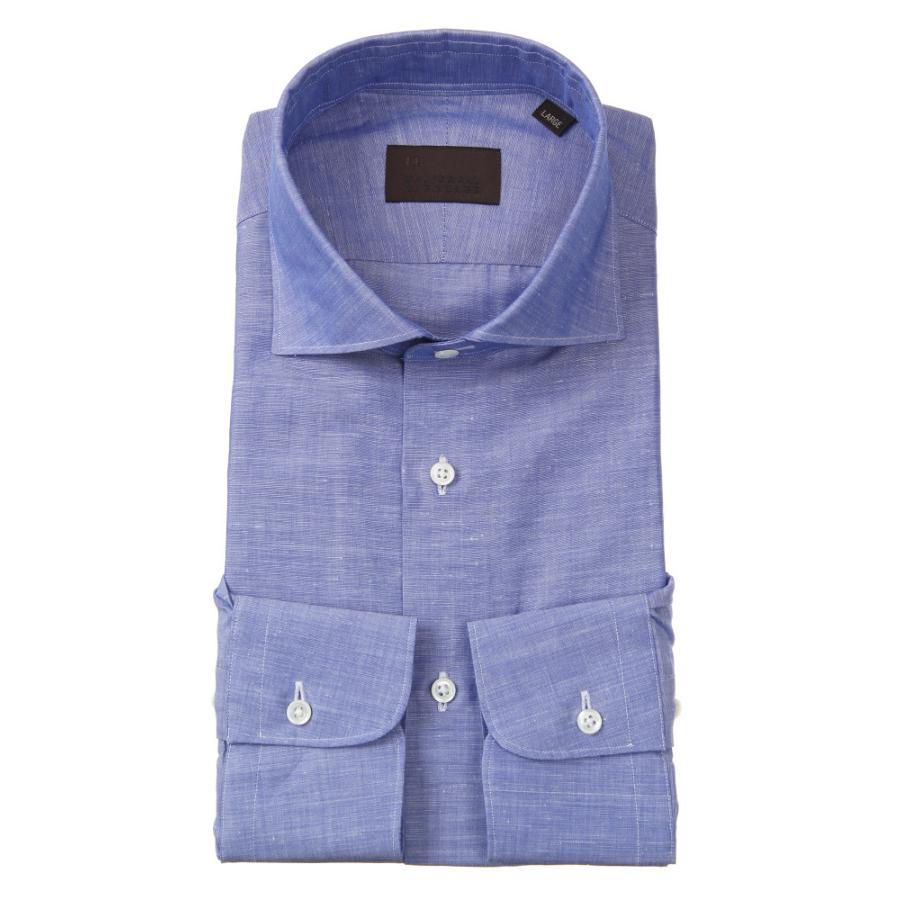 ドレスシャツ/長袖/メンズ/JAPAN FABRIC/リネンブレンド/ホリゾンタルカラードレスシャツ 無地 インディゴ