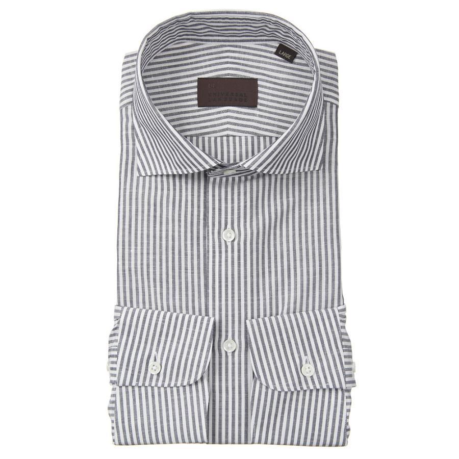 ドレスシャツ/長袖/メンズ/JAPAN FABRIC/リネンブレンド/ホリゾンタルカラードレスシャツ ストライプ ネイビー×ホワイト