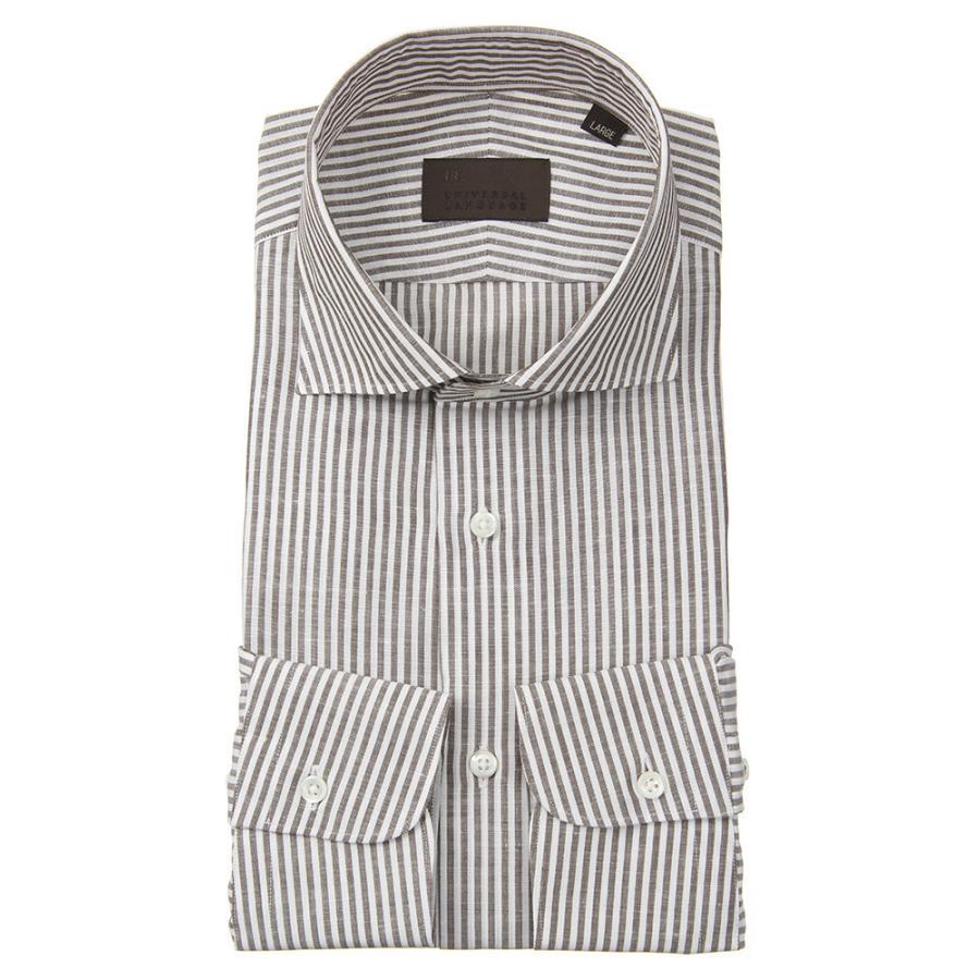 ドレスシャツ/長袖/メンズ/JAPAN FABRIC/リネンブレンド/ホリゾンタルカラードレスシャツ ストライプ ブラウン×ホワイト